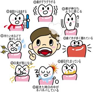 歯がグラグラする、歯が伸びたように感じる、歯ぐきが赤く腫れている、歯石がたまっている、起きた時口の中がネバネバしている、口臭が気になる、冷たい水などで歯がしみる、歯ぐきから出血する